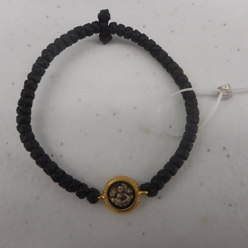 Lady of Intercession gilt komboskini bracelet, black