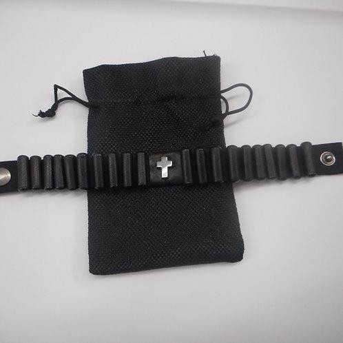 Men's Lestovka, 20 step bracelet, wide, black