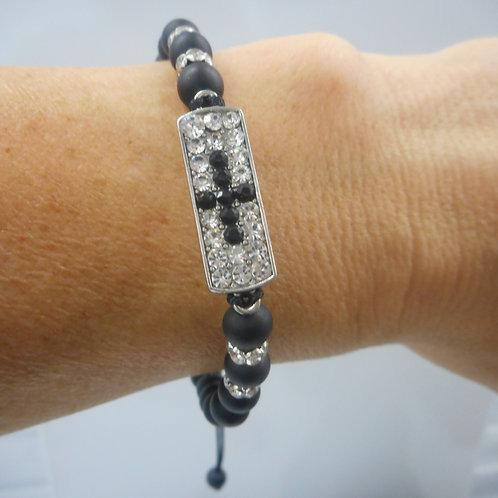 Beads bracelet with cross  with stones black