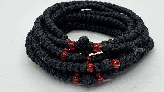 Athos Komboskini bracelet black with red beads