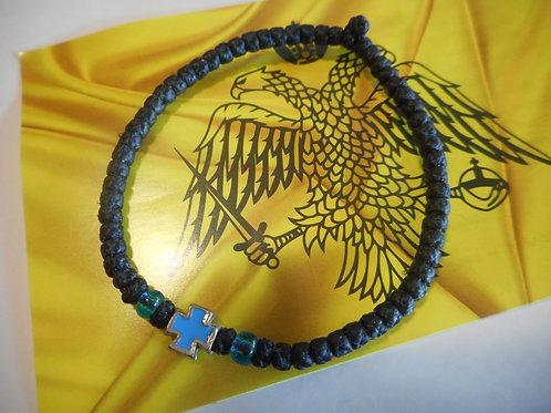 Athos Komboskini bracelet large black with light blue cross