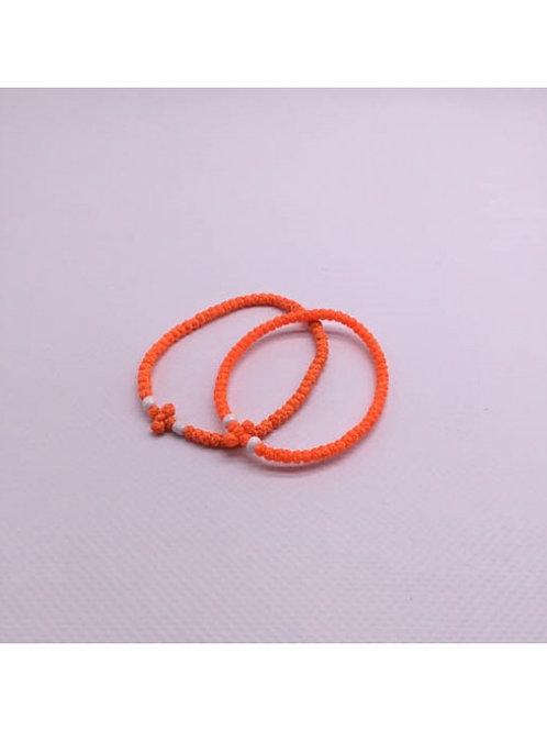 Athos Komboskini small/med. orange with white beads