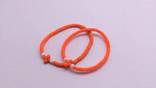 Athos Komboskini orange with white beads