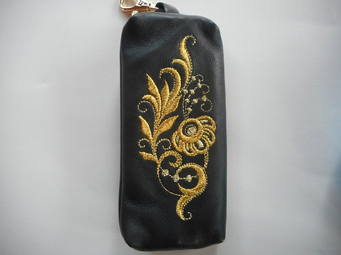 Genuine leather embroidered key chain