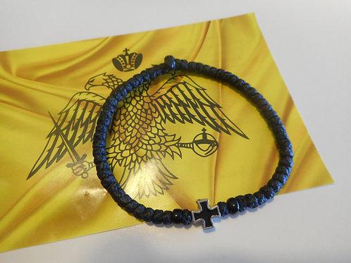 Athos Komboskini bracelet large black with black cross