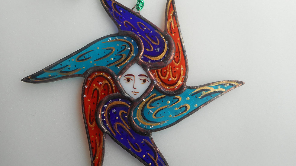 Stained Glass Seraph Ornament turquois/blue/orange with gold markings