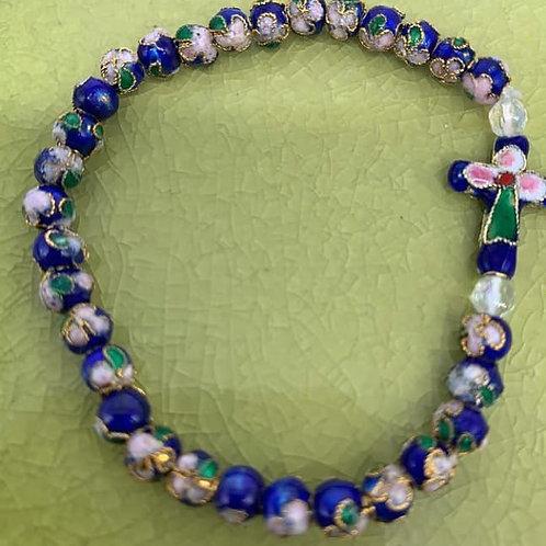 Smalt prayer bracelet with cross blue