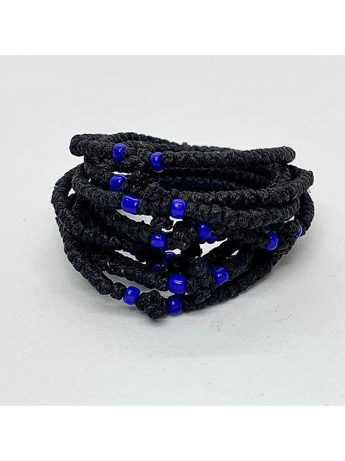 Athos Komboskini bracelet black with blue beads