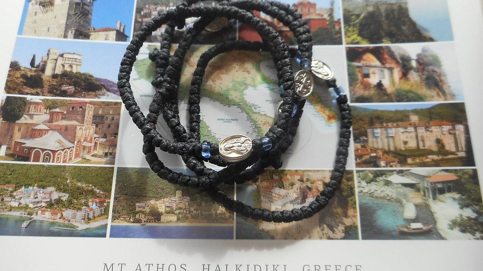Athos Komboskini with Panagia medallion blue translucent beads