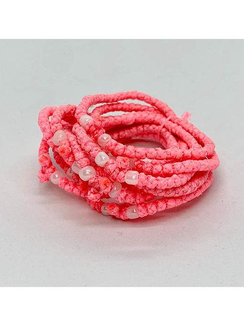 Athos Komboskini bracelet pink with white beads