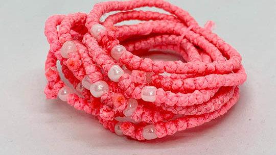 Athos Komboskini pink with white beads