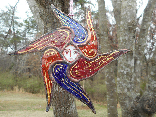 Stained Glass Seraphim Ornament blue/red/orange