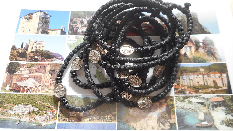 Athos Komboskini bracelet black with Panagia medallon and black beads