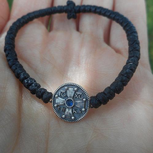 Silver IC XC NIKA with cross komboskini bracelet black