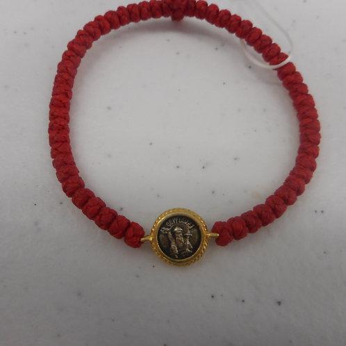 St. Spyridon gilt komboskini bracelet red