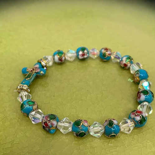 Smalt prayer bracelet with cross blue with white beads