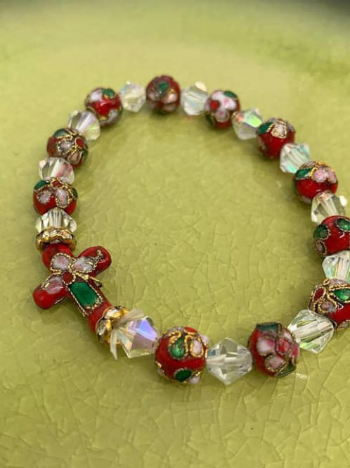 Smalt prayer bracelet with cross red with white beads