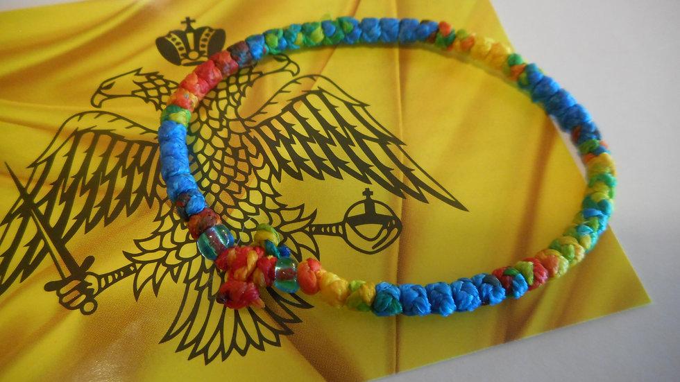 Athos Komboskini bracelet multi colored with blue translucent beads