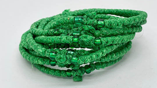 Athos Komboskini green with green beads