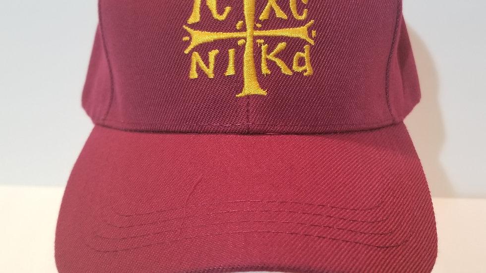 IC XC NIKA Embroidered Cap Burgendy/Gold