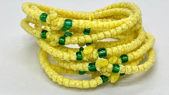 Athos Komboskini bracelet yellow with green beads