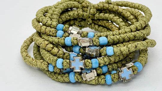 Athos Komboskini olive with light blue beads and silvery enamel cross