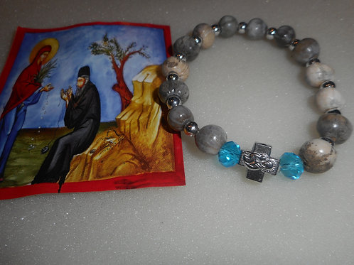 Panagia Tears large bracelet with two blue beads