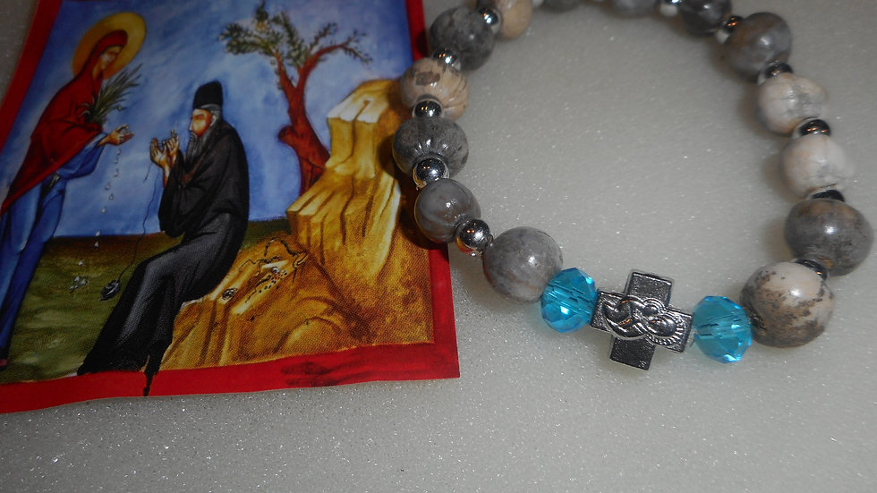 Panagia Tears small/medium bracelet with two blue beads