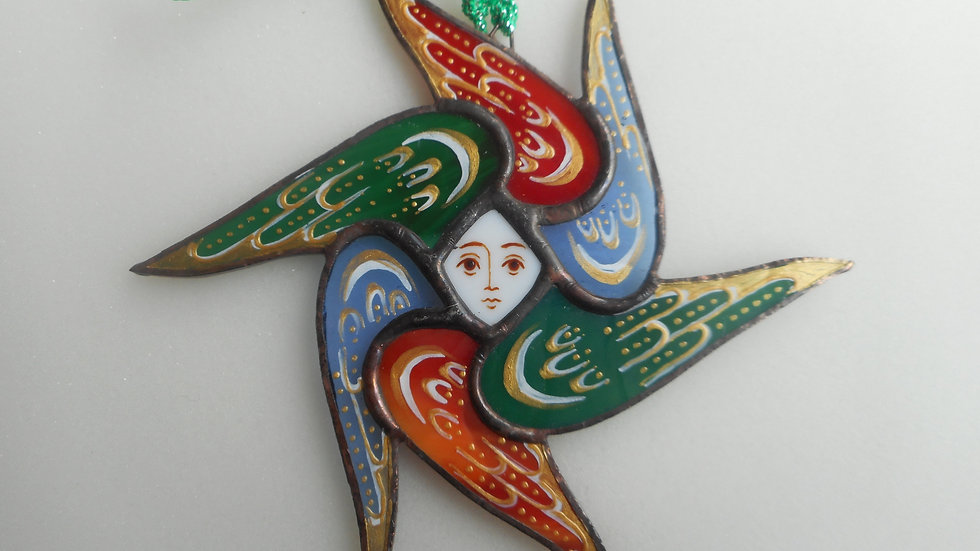 Stained Glass Seraph Ornament red/green/blue transluscent  gold markngs