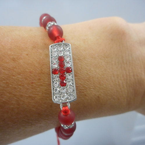 Beads bracelet with cross  with stones red