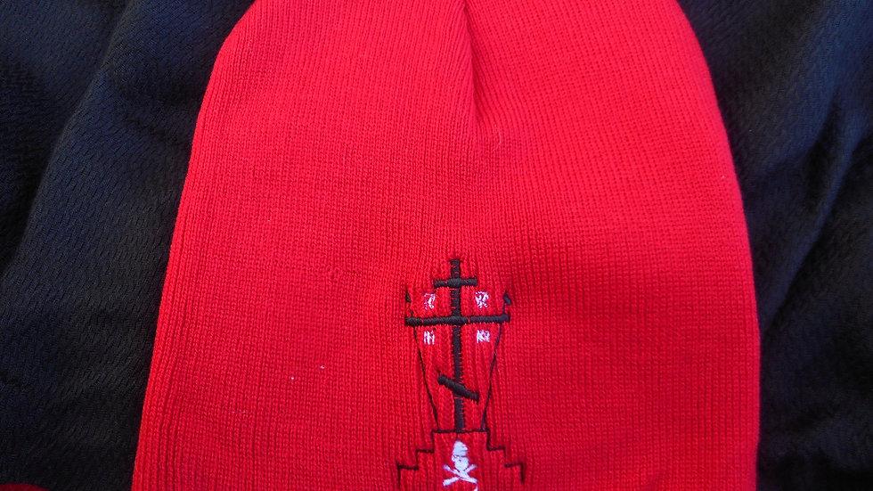 calvary cross beanie red