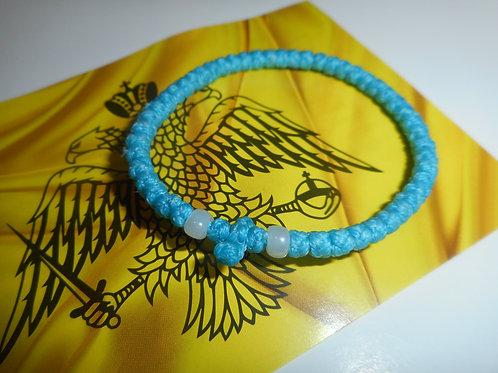 Athos Komboskini bracelet blue with white beads