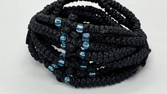 Athos Komboskini bracelet black with transparant blue beads