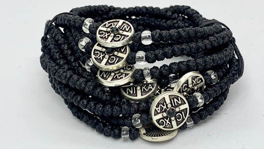 Athos Komboskini bracelet black with NiKA medallion and transparent