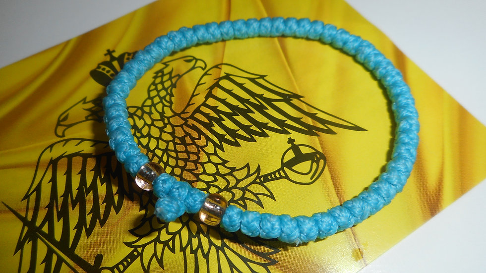 Athos Komboskini bracelet blue with gold translucent beads