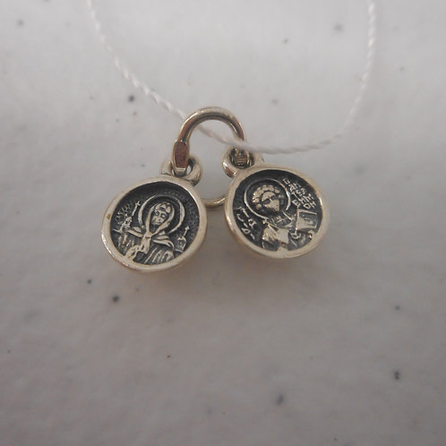 Silver Pendant St.Matrona/St. Panteleimon