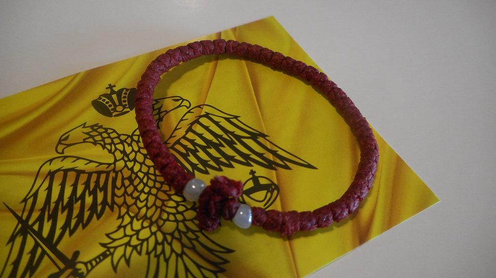 Athos Komboskini bracelet burgendy with white beads