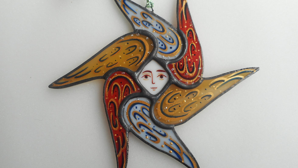 Stained Glass Seraph Ornament light blue/tan/red/gold markings