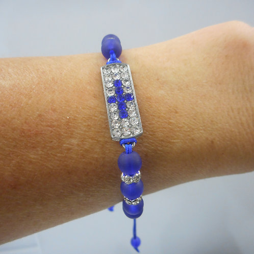Beads bracelet with cross  with stones blue