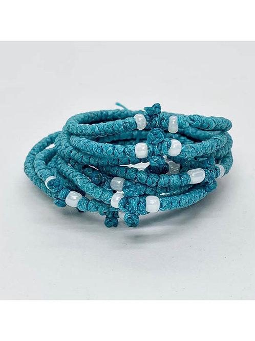 Athos Komboskini blue with white beads