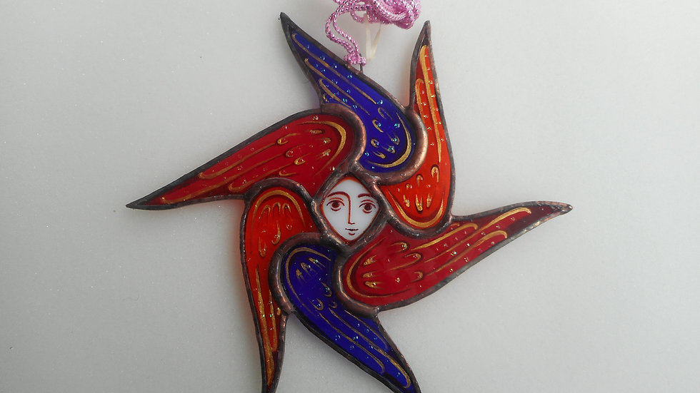 Stained Glass Seraph Ornament blue/red/orange