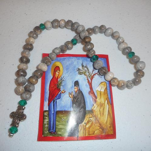 50 Knots Panagia Tears prayer rope green beads