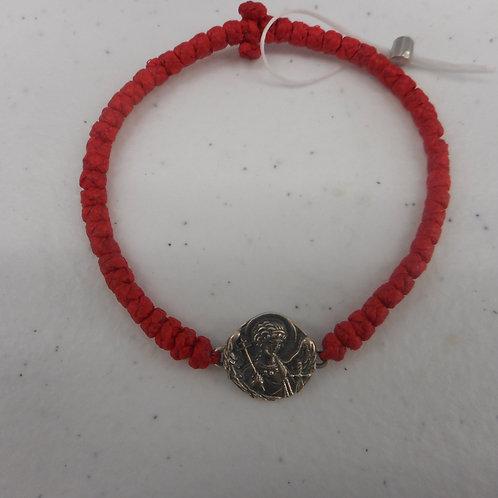 Silver Angel komboskini bracelet red