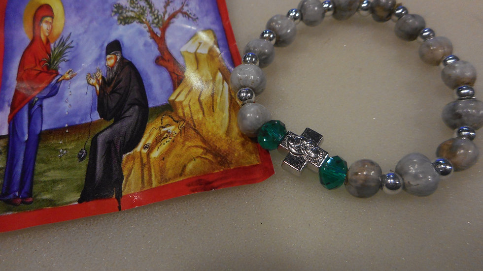Panagia's Tears Prayer Rope with two green beads small/medium