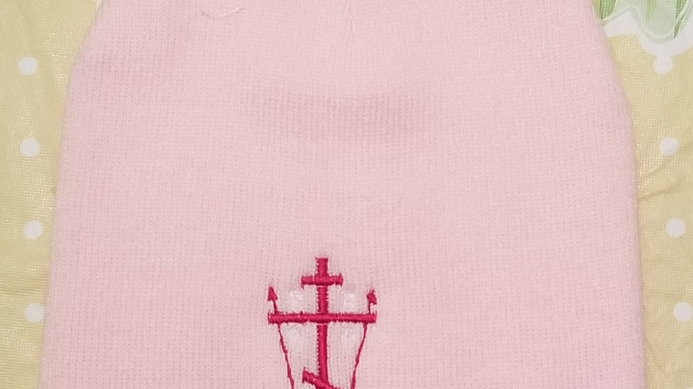 Calvary Cross Beanie Pink