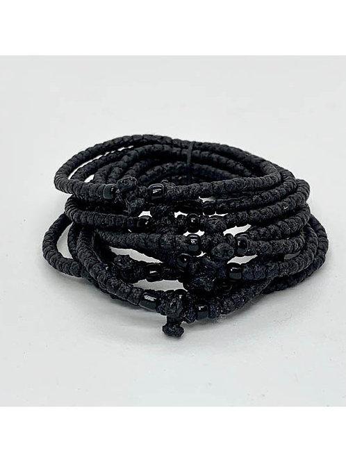Athos Komboskini bracelet large black with black beads
