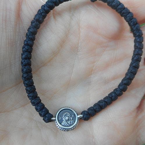 Silver Our Lady of Kazan komboskini bracelet black