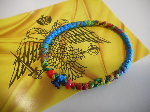 Athos Komboskini bracelet large multi colored with red beads