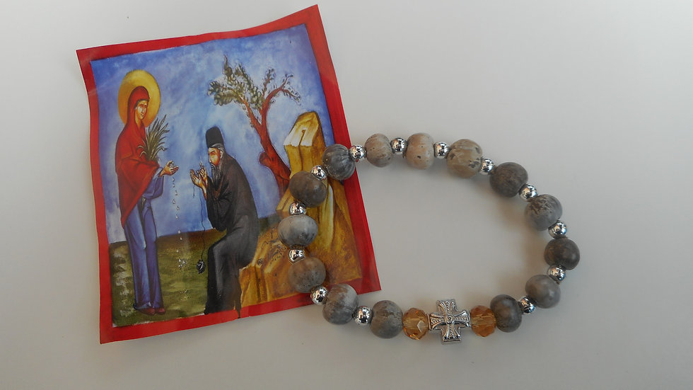 Panagia Tears beads bracelet with two gold beads