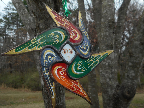 Stained Glass Seraphim Ornament red/green/blue transluscent  gold markngs